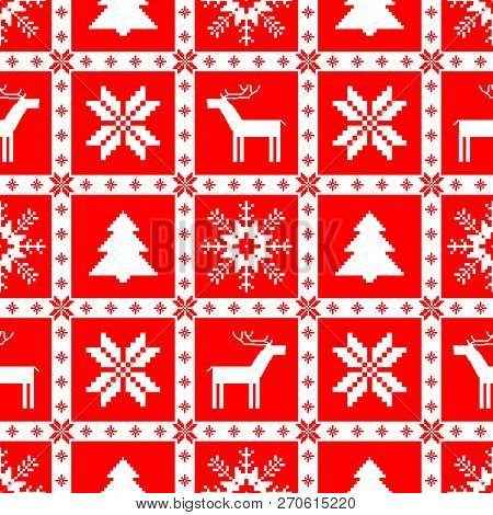 Red And White Christmas Seamless Pattern