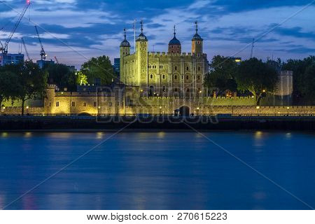 London, England, Uk - May 19, 2014: Tower Of London View At Night