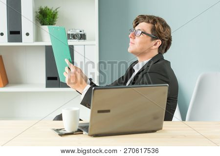 Office, Joke And Business People Concept - Young Man Is Fun And Enthusiastic Working In The Office