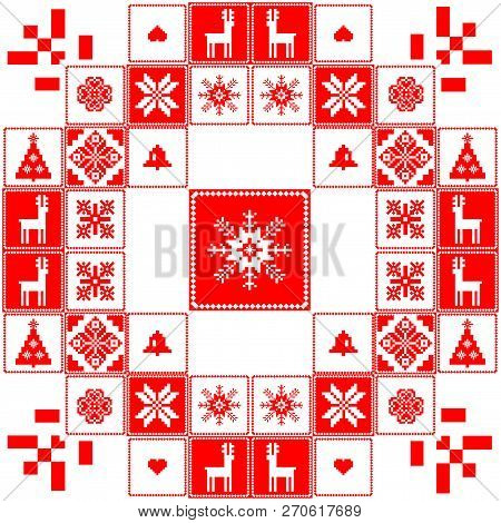 Tradition Red And White Christmas Design
