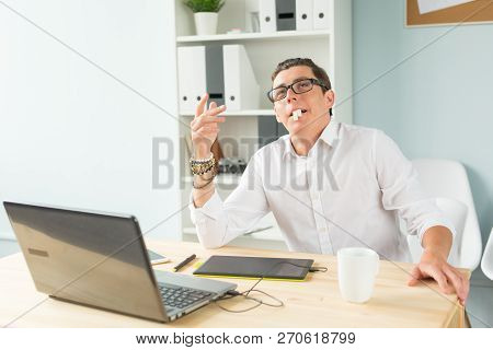 Business, Humor And People Concept - Young Man In White Shirt Make Funny Face
