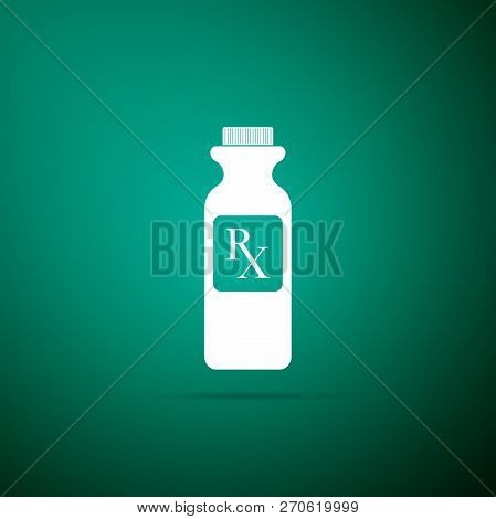 Pill Bottle With Rx Sign And Pills Icon Isolated On Green Background. Pharmacy Design. Rx As A Presc