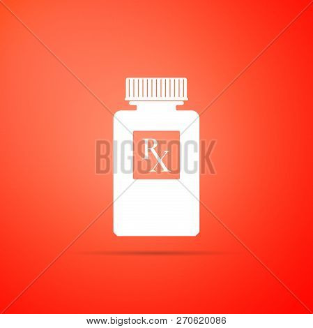 Pill Bottle With Rx Sign And Pills Icon Isolated On Orange Background. Pharmacy Design. Rx As A Pres