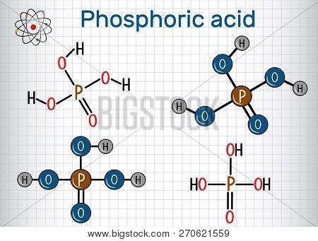 Phosphoric Acid (orthophosphoric Acid, H2po4) Is A Mineral And Weak Acid Molecule. Structural Chemic