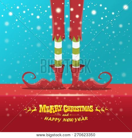 Vector Creative Merry Christmas Greeting Card With Cartoon Elfs Legs, Elf Shoes And Christmas Stripp