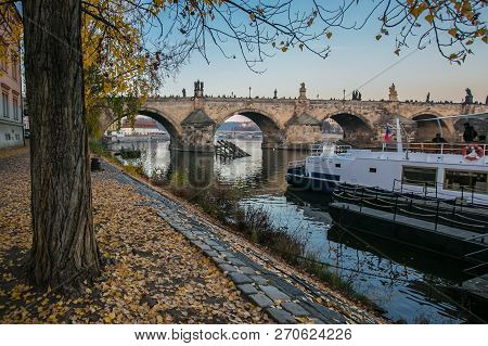 poster of View of famous stone Charles bridge with statues, riverbank of Moldau, boats, evening sunset colors, tree in foreground, yellow leaves on ground, Czech Republic, Europe