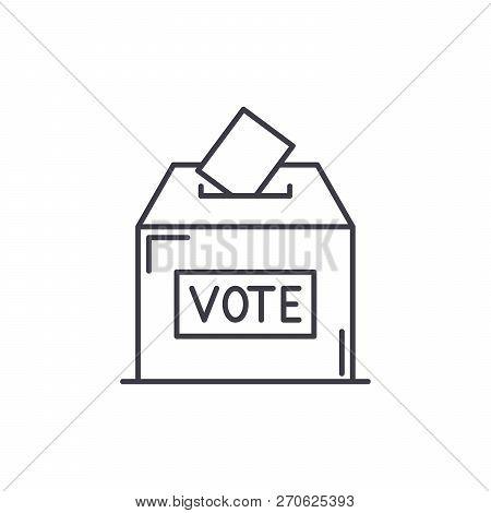 Vote Line Icon Concept. Vote Vector Linear Illustration, Symbol, Sign