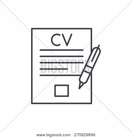 Writing A Resume Line Icon Concept. Writing A Resume Vector Linear Illustration, Symbol, Sign