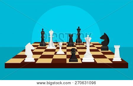 Chess Board Game Concept Background. Flat Illustration Of Chess Board Game Vector Concept Background