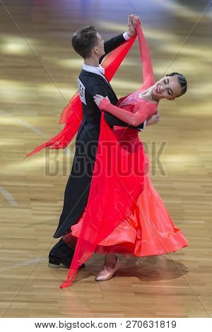 Minsk, Belarus-october 14, 2018: Dance Couple Performs Adults European Standard Program On Wdc Profe