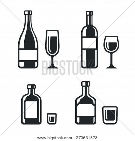 Alcohol Drinks Bottle And Glass Icons. Wine, Champagne, Whiskey And Liqueur. Simple And Stylish Blac