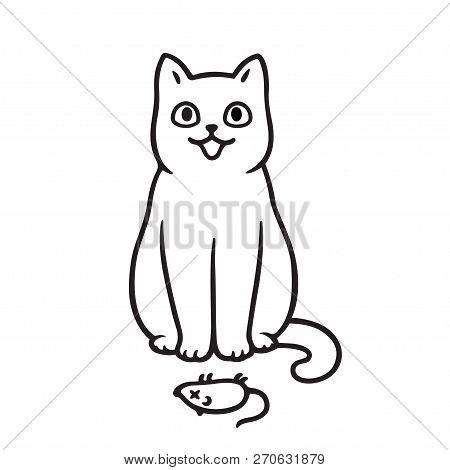 Cute Cartoon Cat Dead Vector Photo Free Trial Bigstock