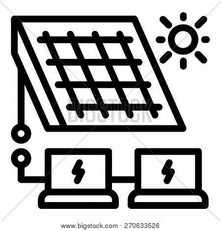 Solar Panel Energy Solution Icon. Outline Solar Panel Energy Solution Vector Icon For Web Design Iso