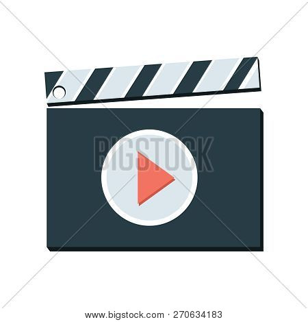 Vector Clapper Board With Play Icon Cinema Movie Illustration Sign. Video Film Sign Symbol. Film Cla