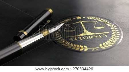 Attorney Sign Design With Scales Of Justice Symbol Printed On Black Background And Fountain Pen. 3d