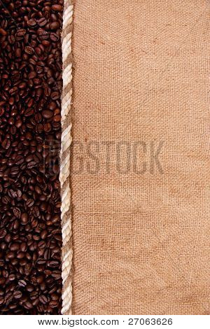 preparation for a coffee menu is made from coffee beans, string and burlap