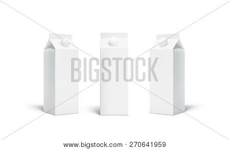 Blank White Rex Juice Or Milk Pack Lid Mockup Set, Isolated, 3d Rendering. Empty Aseptic Bottle With