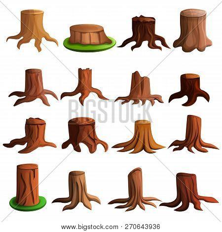 Stump Tree Icon Set. Cartoon Set Of Stump Tree Vector Icons For Web Design