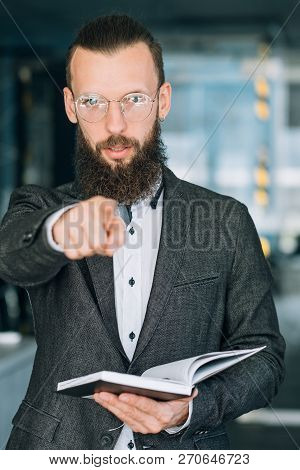 I Will Teach You Next. Career Training Or Business Coaching Concept. Man In Suit Pointing Finger