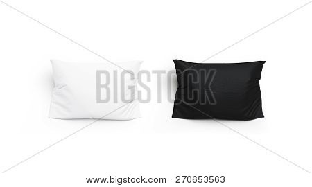 Blank Black And White Pillow Mock Up Set, Isolated, 3d Rendering. Empty Pillowslip Mockup, Top View.