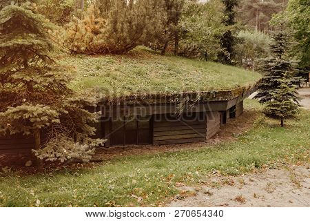 Ww2 Bunker In The Forest At Szymbark Area In Poland, Shelter In Case Of Bombing.
