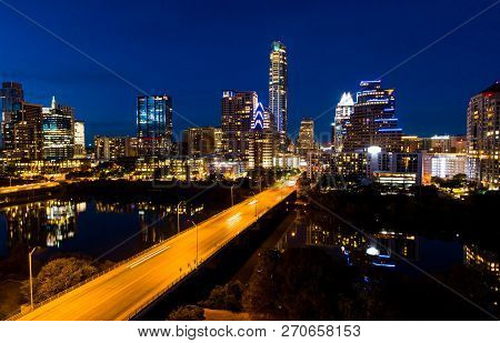 South Congress Avenue Bridge Time Lapseaustin Nightscape - Places At Night - Aerial Drone View Capit
