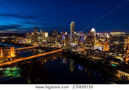 Austin Nightscape City Lights At Night - Places At Night - Aerial Drone View Capital Cities Austin,