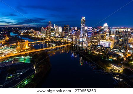 Aerial Drone View Of The Austin Texas Skyline Cityscape At Night Blue Hour Past Sunset Lights Turned