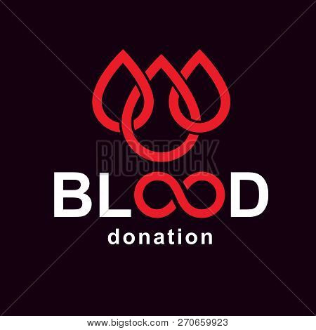 Vector blood donation inscription created with limitless symbol. Save life and donate blood conceptual illustration. poster
