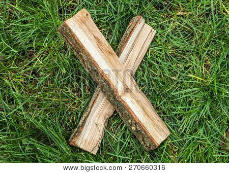Roman Numeral. Roman Numerals Made From Oak. Old Wood Numbers. Old Roman Antique Alphabet Number On