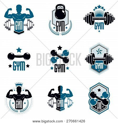 Logotypes For Heavyweight Gym Or Fitness Sport Gymnasium, Vintage Style Vector Emblems Set.