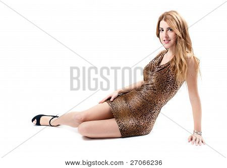 Sexy Girl On Leopard Dress