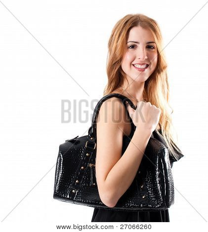 Smiling Cute Girl With Black Handbag