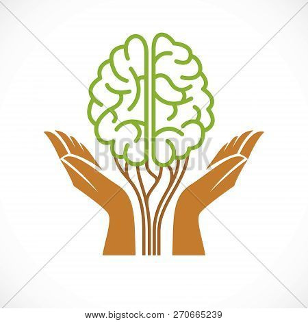 Mental Health And Psychology Concept, Vector Icon Or Logo Design. Human Anatomical Brain In A Shape