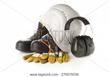 Work Safety And Protection Equipment - Protective Shoes, Safety Glasses, Gloves And Hearing Protecti