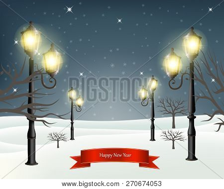 Christmas Evening Winter Landscape With Lampposts. Vector Illustration