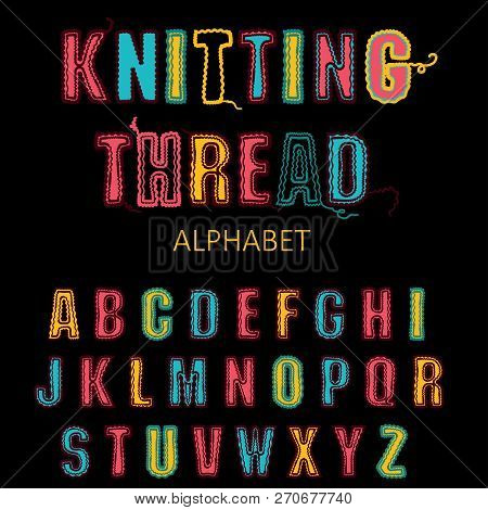 Knitting Font, Fairisle Thread Abc. Embroidered Hand Drawn Alphabet