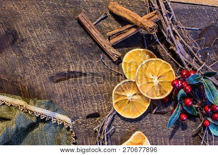 Healthy Holiday Christmas Flat Lay Of Traditional Dried Orange Slices, Cranberry And Grape Vine Wrea