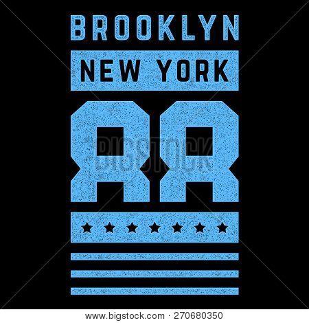 Vintage Design. Brooklyn. New York. Blue, Grunge Banner. Retro Print For T-shirts. Design For T-shir