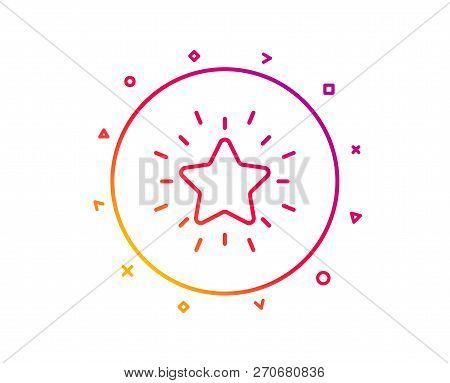 Rank Star Line Icon. Success Reward Symbol. Best Result Sign. Gradient Pattern Line Button. Rank Sta