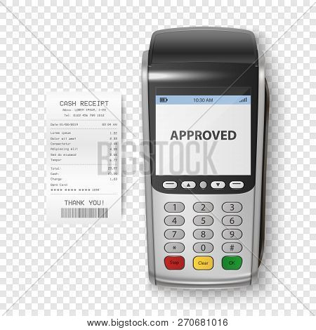 Vector Realistic Silver 3d Payment Machine. Pos Terminal With Receipt Closeup Isolated. Design Templ