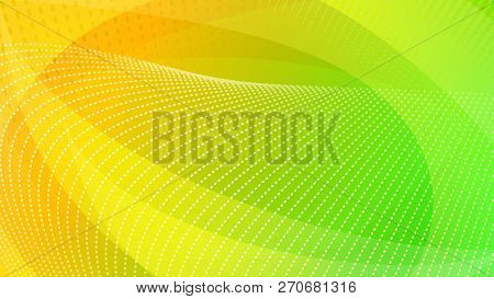 Abstract Background Of Curved Surfaces And Halftone Dots In Yellow And Green Colors