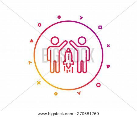 Partnership Line Icon. Business Management Sign. Launch Startup Project Symbol. Gradient Pattern Lin