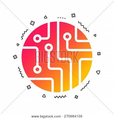 Circuit Board Sign Icon. Technology Scheme Circle Symbol. Colorful Geometric Shapes. Gradient Circui
