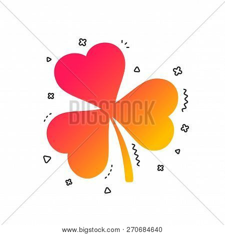 Clover With Three Leaves Sign Icon. Trifoliate Clover. Saint Patrick Trefoil Symbol. Colorful Geomet