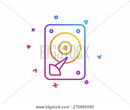 Hdd Icon. Hard Disk Storage Sign. Hard Drive Memory Symbol. Gradient Line Button. Hdd Icon Design. C