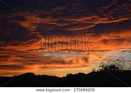 Amazing Cloud Sky Sunset / Orange Dark Storm Scary Dramatic Clouds On Sunset Beautiful With Motion C