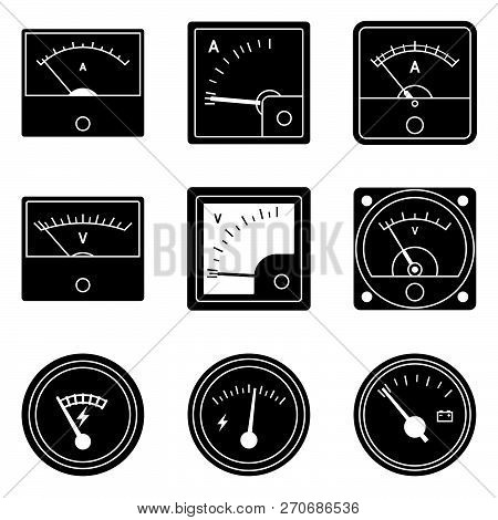 Voltmeter And Ammeter Icon Set. Measuring Tool. Silhouette Vector