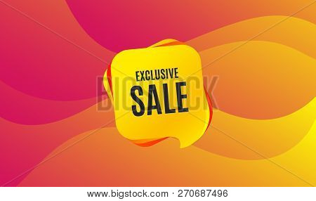 Exclusive Sale. Special Offer Price Sign. Advertising Discounts Symbol. Wave Background. Abstract Sh
