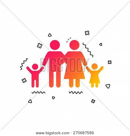 Family Icon. Parents With Children Symbol. Family Insurance. Colorful Geometric Shapes. Gradient Fam